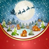 Winter landscape with Santa Claus's sleigh — Stock Vector