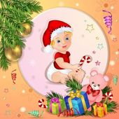 Christmas background with boxes gift and cute baby — Stock Vector