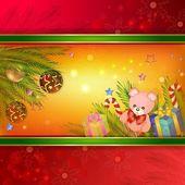 новогодний фон с коробки подарка — Cтоковый вектор