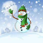 Christmas background with happy snowman — Stock Vector