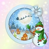 Fond de noël avec le joyeux bonhomme de neige — Vecteur