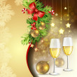 New Year's balls and glasses of champagne — Stock Vector #17487051