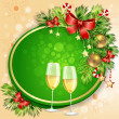 New Year's balls and glasses of champagne - Stock Vector