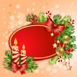 Christmas card with burning candles — Stock Vector