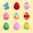Set of colorful paper Easter eggs - 图库矢量图片
