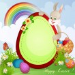 Easter greeting card with cute bunny — Stockvectorbeeld