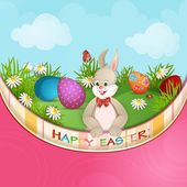 Easter greeting card with cute bunny — Stock Vector