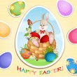 Royalty-Free Stock Vector Image: Easter greeting card with cute bunny