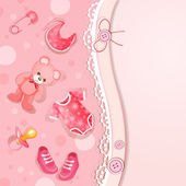 Pink baby shower card — Stock Vector