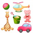Illustration of various toys on a white background — Stock Vector