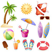 Summer beach elements — Stock Vector
