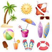 Summer beach elements — Stock Vector