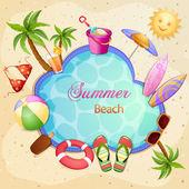 Summer beach illustration — Stock Vector
