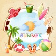 Summer beach illustration — Stock Vector