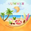 Summer holiday illustration — Stock Vector