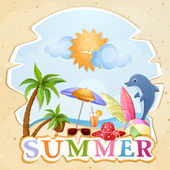Summer holiday illustration with dolphin — Stock Vector