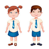 Boy and girl in school uniform — Stock Vector