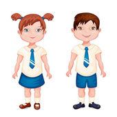 Boy and girl in school uniform — Stock Vector