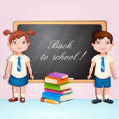 Back to school illustration with boy and girl — Stock Vector