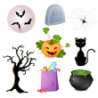 Stock Vector: Set of Halloween elements.