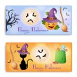 Set of two Halloween banners  — Stok Vektör
