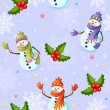 Seamless pattern with cute Christmas snowman — Stock Vector