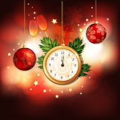 Happy New Year illustration with gold clock — Stock vektor