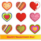 Set of Valentine's day hearts — Vector de stock