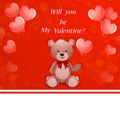 Valentine's Day illustration with cute teddy bear — Stock Vector