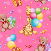 Seamless pattern with giraffe toy — Stock Vector