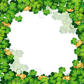 St. Patrick's Day frame with clover — Stock Vector