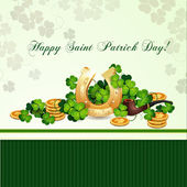 Saint Patrick's Day card with clover and horseshoe — Stock Vector