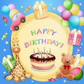 Birthday card with birthday cake — Stock Vector