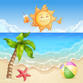 Summer beach illustration with happy sun and palm tree. — Stock Vector
