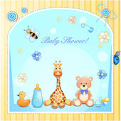 Baby shower card with toys. — Stock Vector