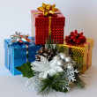 Stock Photo: Three boxes of Christmas gifts