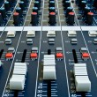 Faders on audio mixer — Stock Photo