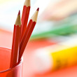 Three red pencils — Stock fotografie