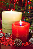Two Christmas candles — Stock Photo