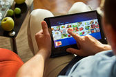 Food on tablet-pc — Stock Photo