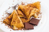 Crepes with chocolate — Stock Photo