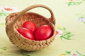 Three red eggs — Stock Photo