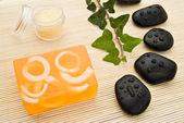 Soap and massage stones — Foto Stock