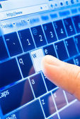Typing on touch screen — Stock Photo
