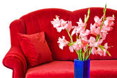 Red sofa and flowers — Stock Photo