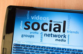 Social network on screen — Stock Photo