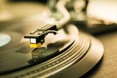 Vinyl disc on record player — Stock Photo