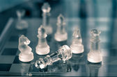 Checkmate with glass chess — Stock Photo