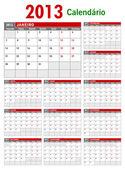2013 Portuguese Calendar Template — Stock Vector