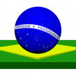 Royalty-Free Stock Photo: Flag of Brazil with soccer ball